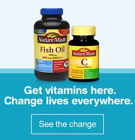 Get vitamins here. Change lives everywhere. See the change.