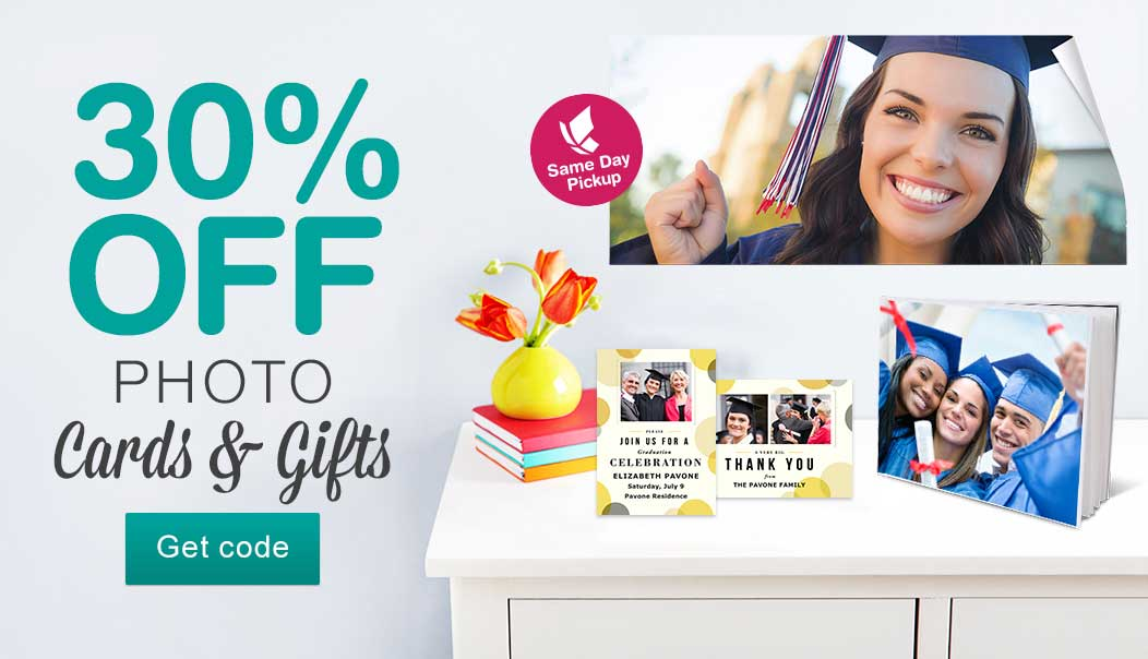 30% OFF Photo Cards & Gifts. Same Day Pickup. Get code.