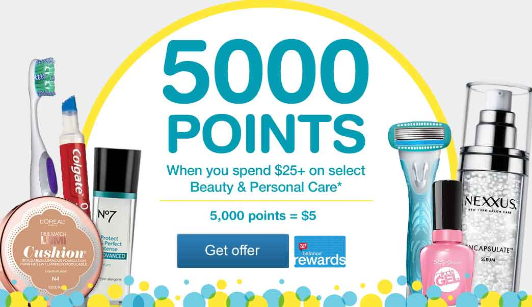 5,000 Points when you spend $25+ on select Beauty & Personal Care.* 5,000 points = $5. Get offer.