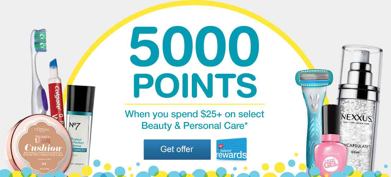 Balance(R) Rewards. 5000 Points when you spend $25+ on select Beauty & Personal Care.* Get offer.