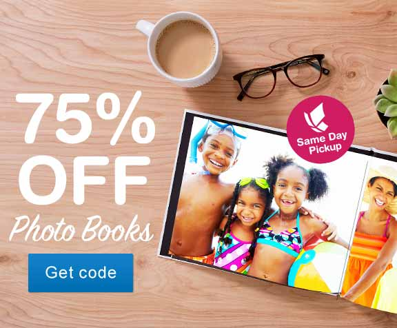 75% OFF Photo Books. Same Day Pickup. Get code.