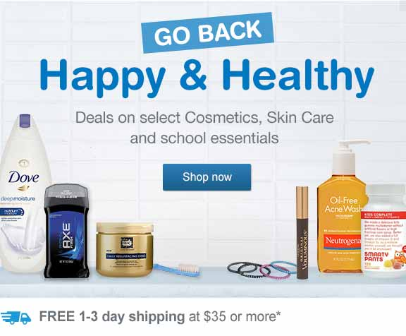 Go Back Happy & Healthy. Deals on select Cosmetics, Skin Care and school essentials. FREE 1-3 day shipping at $35 or more.* Shop now.