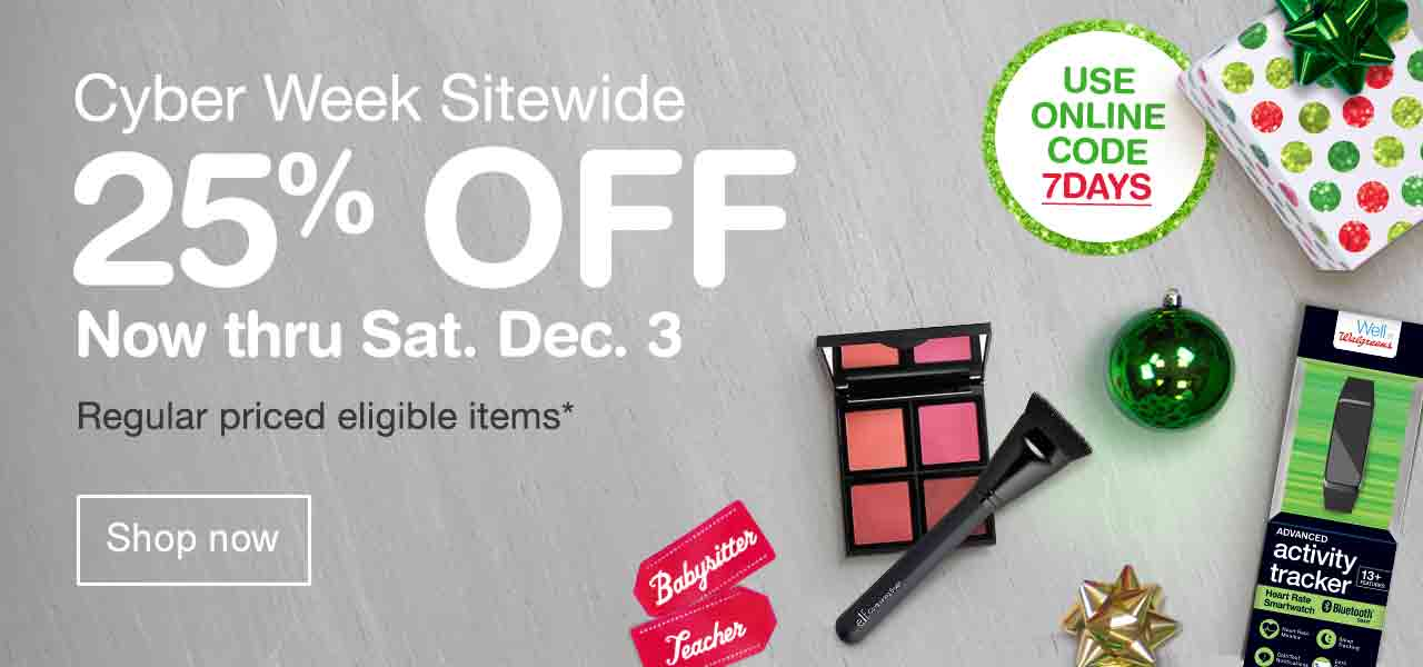 Cyber Week Sitewide 25% OFF Now thru Sat. Dec. 3. Use online code 7DAYS. Regular priced eligible items.* Shop now.