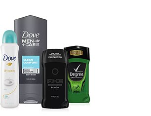 AXE, Dove, Degree or Suave Skin, Bath or Personal Care