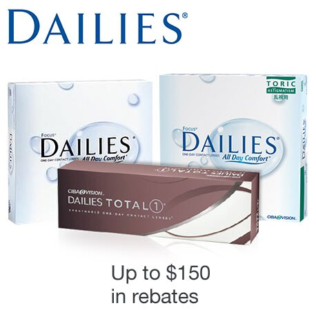 Dailies. Up to $150 in rebates.