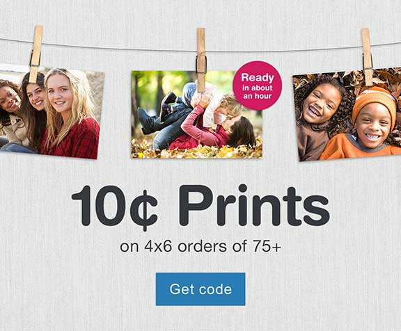 10 Cent prints on 4x6 orders of 75+. Ready in about an hour. Get code.