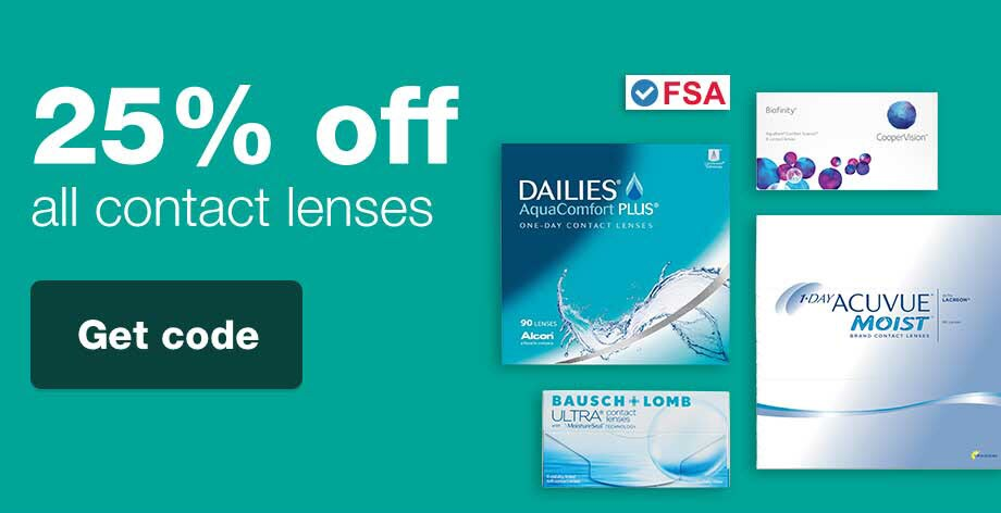 FSA Approved. 25% OFF Contact Lenses. Get code.