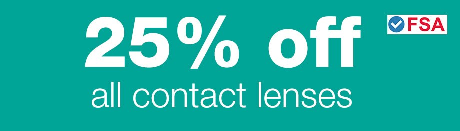 FSA Approved. 25% OFF Contact Lenses.