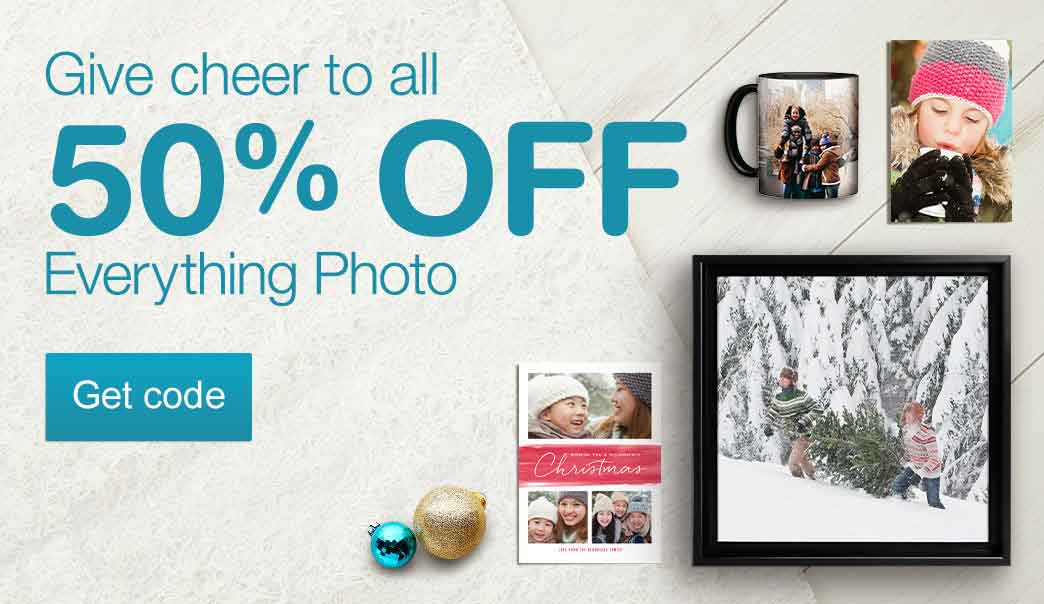 Give cheer to all with 50% OFF Everything Photo. Get code.