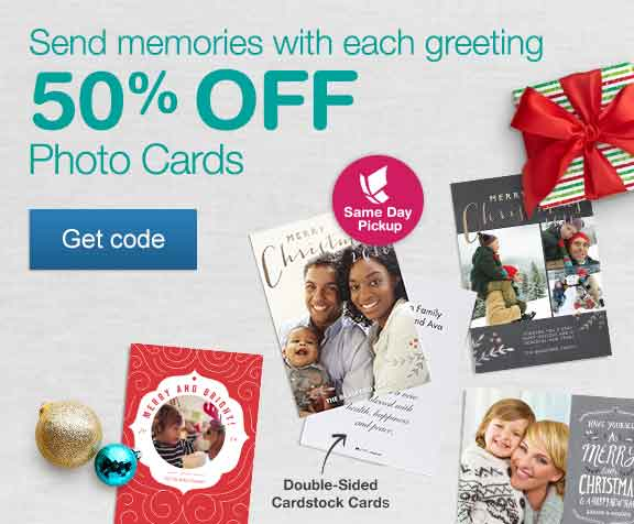 Send memories with each greeting. 50% OFF Photo Cards. Same Day Pickup. Get code.