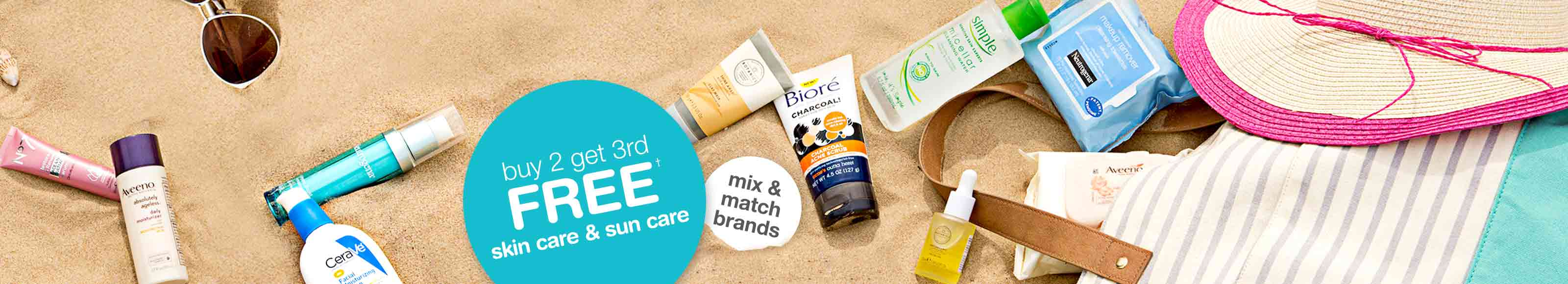 Buy 2 get 3rd FREE† skin care & sun care. Mix & Match brands.