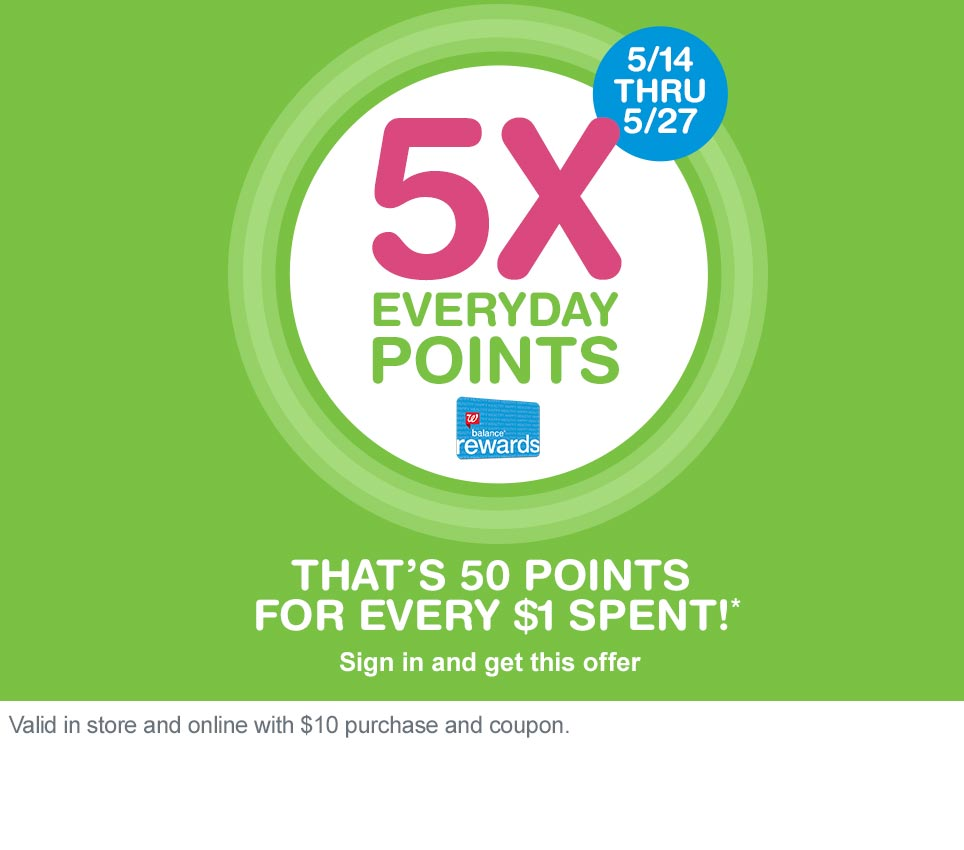 5/14 thru 5/27. 5X Everyday Points. That's 50 points for every $1 spent!* Valid in store and online with $10 purchase and coupon. Balance(R) Rewards. Sign in and get this offer.