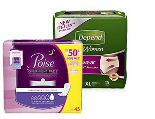 Poise and Depend protection products