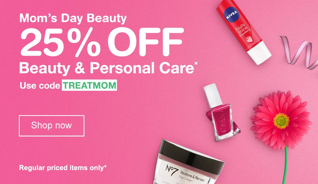 Mom's Day Beauty. 25% OFF Beauty & Personal Care.* Use code TREATMOM. Regular priced items only. Shop now.
