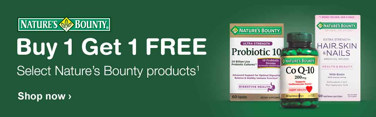 Nature's Bounty. Buy 1 Get 1 FREE. Select Nature's Bounty products.(1) Shop now.