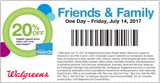 Friends & Family. One Day — Friday, July 14, 2017. 20% OFF eligible regular-price items with card and coupon.* Balance(R) Rewards.