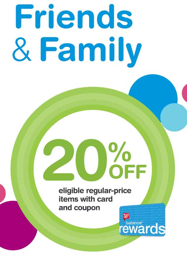 Friends & Family. 20% OFF eligible regular-price items with card and coupon. Balance(R) Rewards.