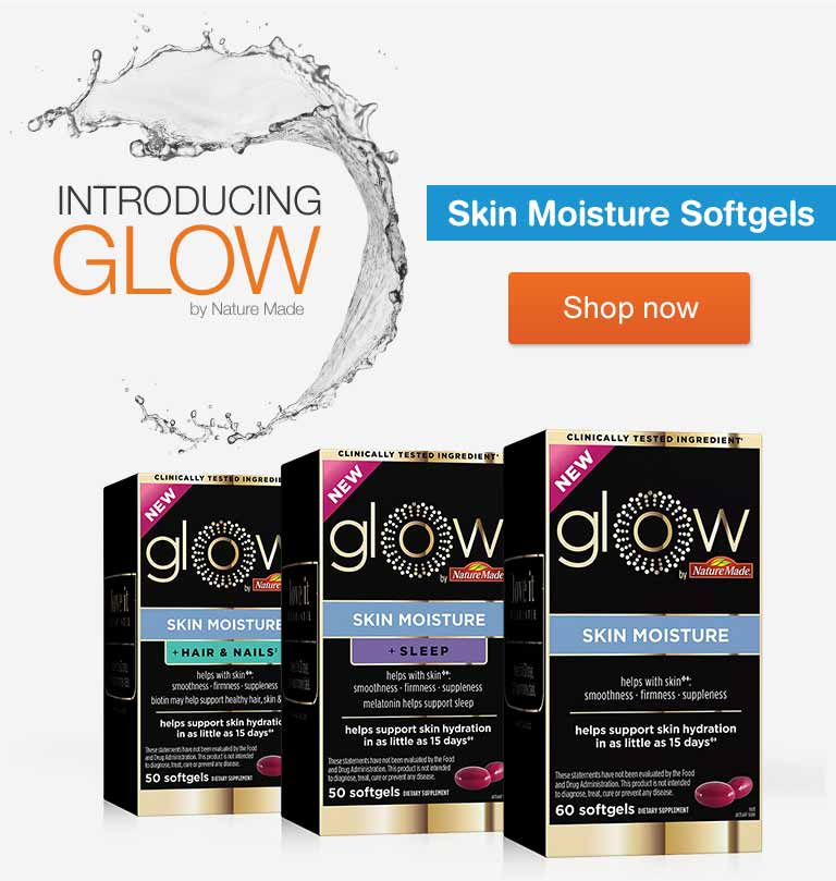 Introducing Glow by Nature Made. Skin Moisture Softgels. Shop now.