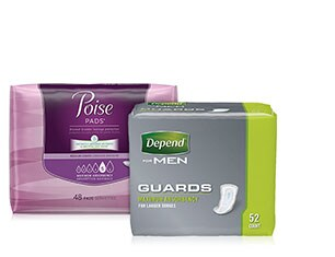 Poise, Depend or Always Discreet products