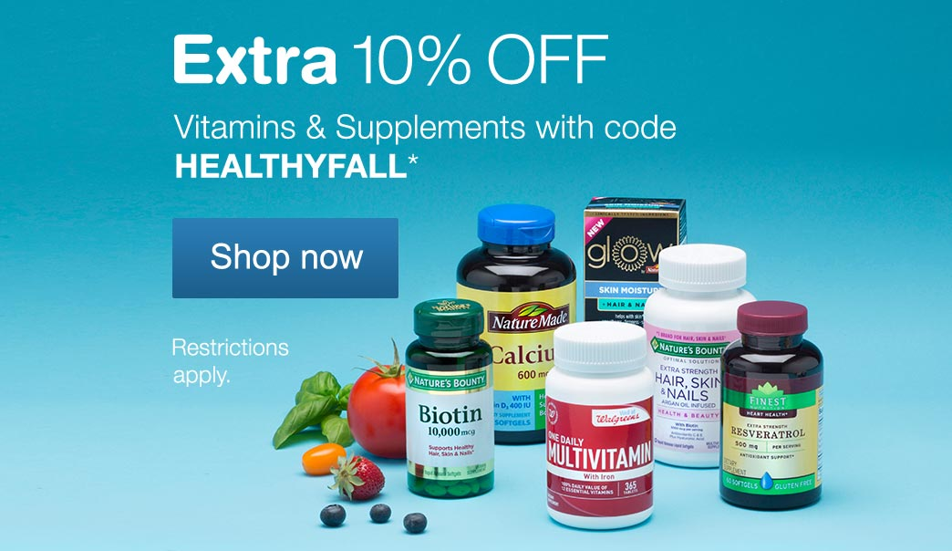 Extra 10% OFF Vitamins and Supplments with code HEALTHYFALL.* Shop now. Restrictions apply.