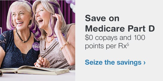 Save on Medicare Part D. $0 copays and 100 points per Rx.(5) Seize the savings.