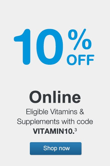 10% OFF Online Eligible Vitamins & Supplements with code VITAMIN10.(3) Shop now.