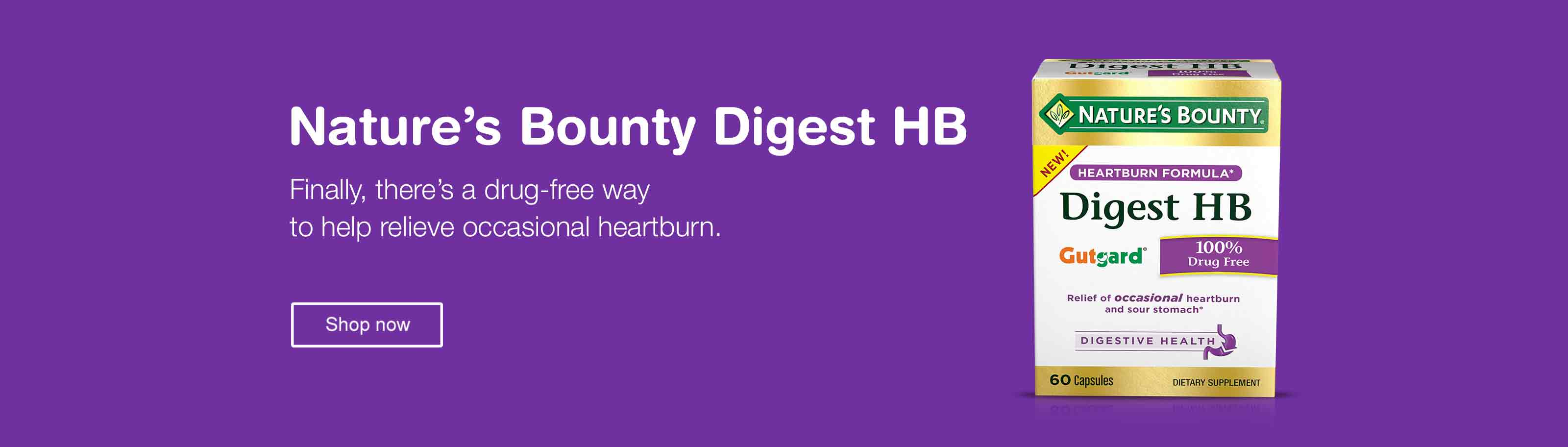 Nature's Bounty Digest HB. Finally, there's a drug-free way to help relieve occasional heartburn. Shop now.