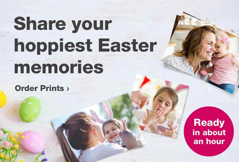Ready in about an hour. Share your hoppiest Easter memories. Order Prints.