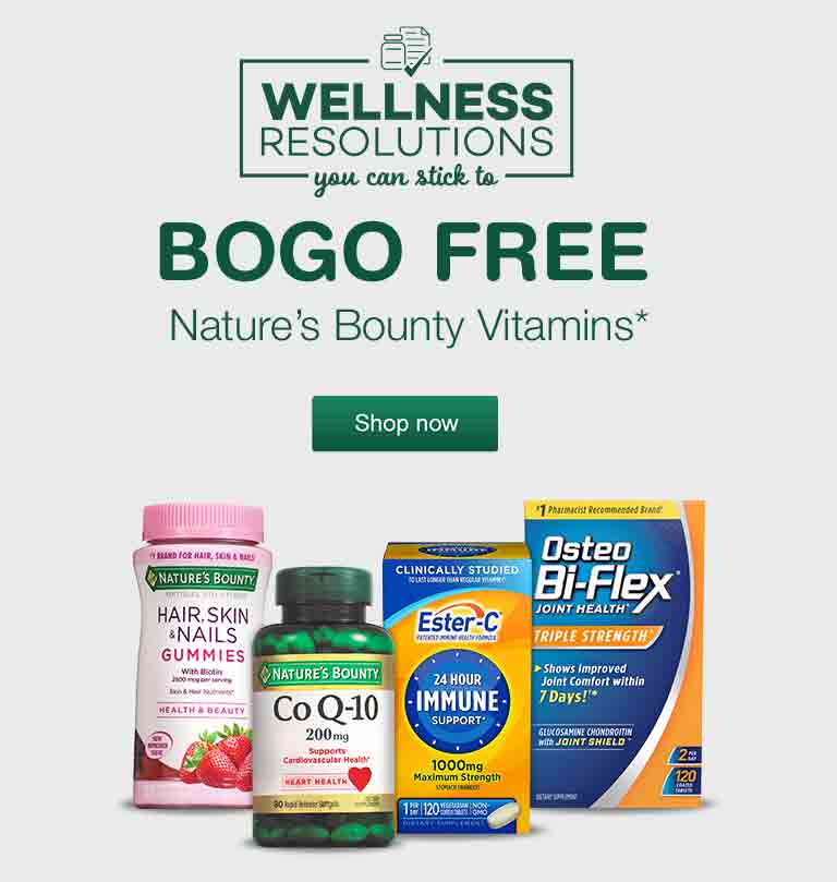 Wellness Resolutions you can stick to. BOGO FREE Nature's Bounty Vitamins.* Shop now.
