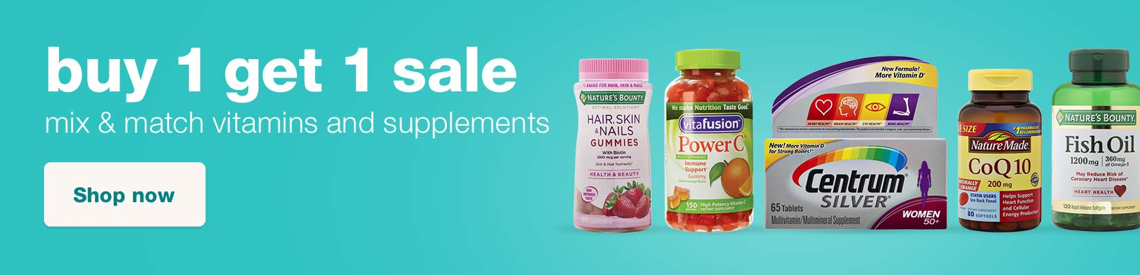 Buy 1 get 1 sale. Mix & match vitamins and supplements. Shop now.