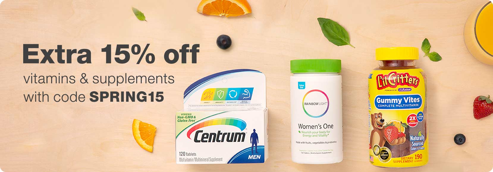 Extra 15% off vitamins & supplements with code SPRING15.