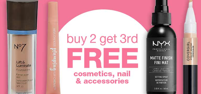 Buy 2 get 3rd FREE cosmetics, nail and accessories.