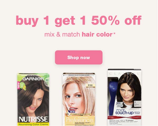buy 1 get 1 50% off. mix & match hair color* Shop now.