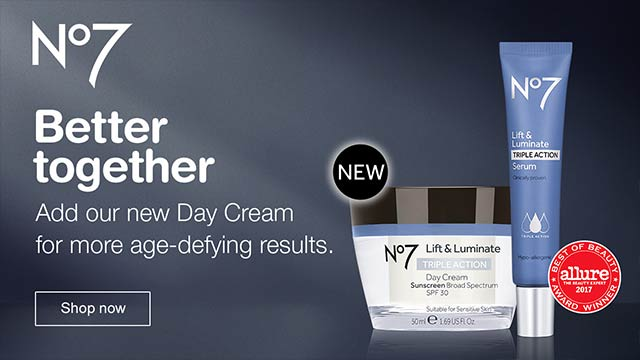 NEW No7. Better together. Add our new Day Cream for more age-defying results. Allure 2017 Best of Beauty Award Winner. Shop now.