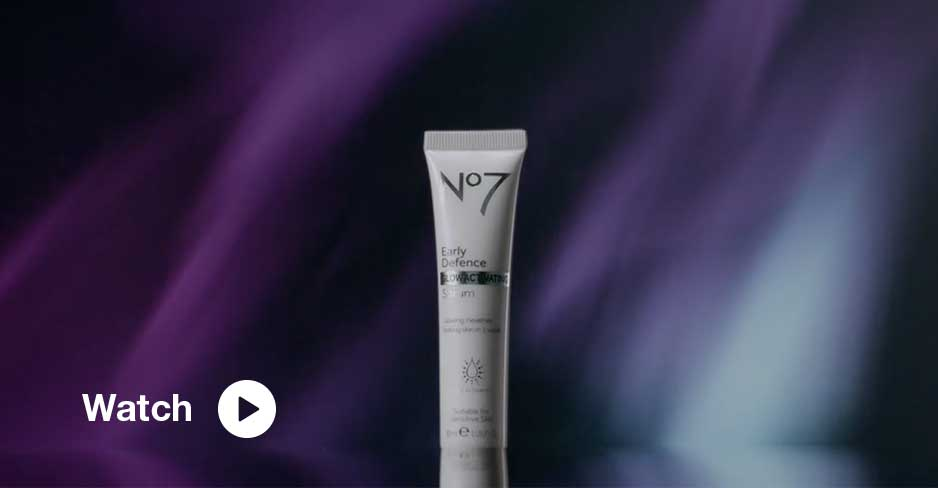 Watch the video - No7's NEW Early Defence GLOW ACTIVATING Serum