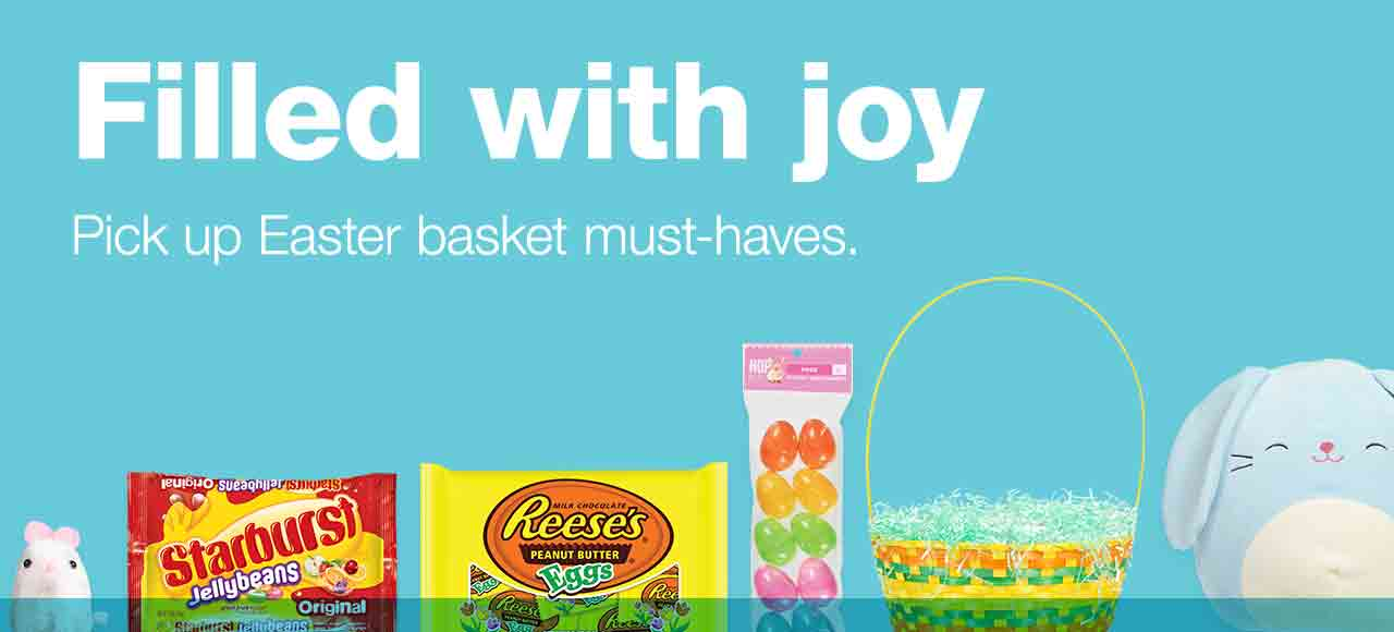 Filled with joy. Pick up Easter basket must-haves.