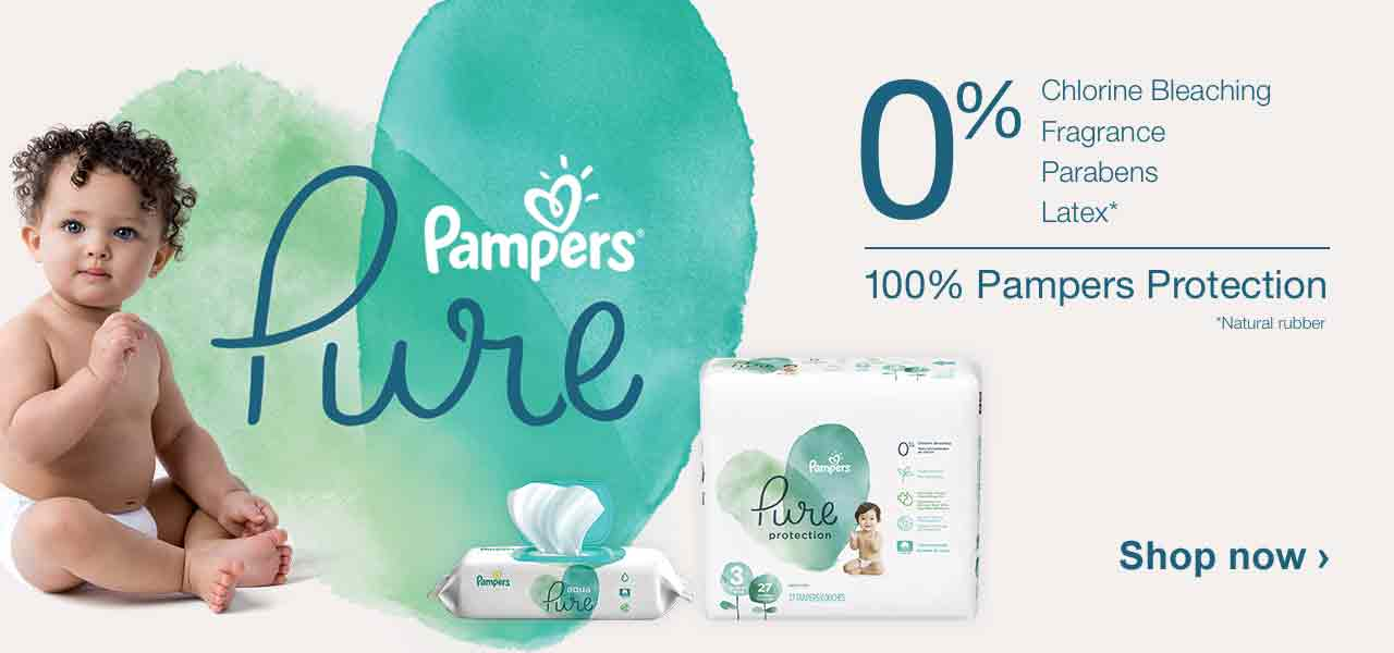 Pampers Pure. 0% Chlorine Bleaching, Fragrance, Parabens, Latex.* 100% Pampers Protection. *Natural rubber. Shop now.