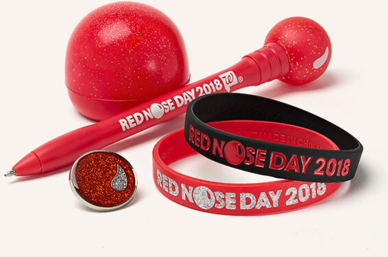 Red Nose, Pin, Wristband and Pen