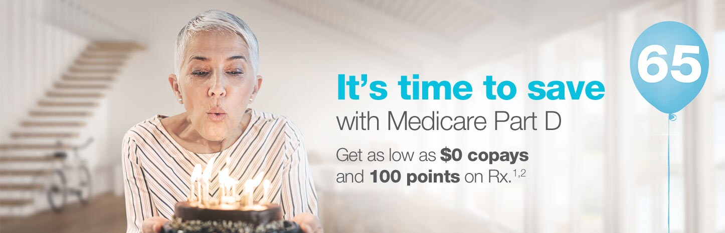 It's time to save with Medicare Part D. Get as low as $0 copays and 100 points on RX. (1,2)