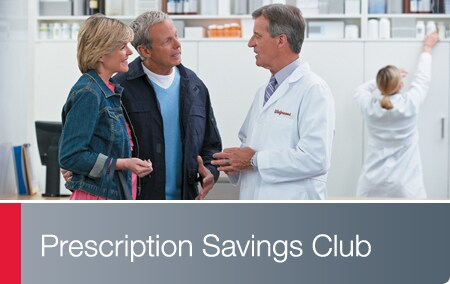 Prescriptions Savings Club - Walgreens Pharmacist conversing with a couple