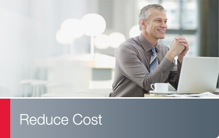 Reduce Cost - Business associate with laptop smiling