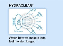HYDRACLEAR. Watch how we make a lens feel moister, longer. Watch video.