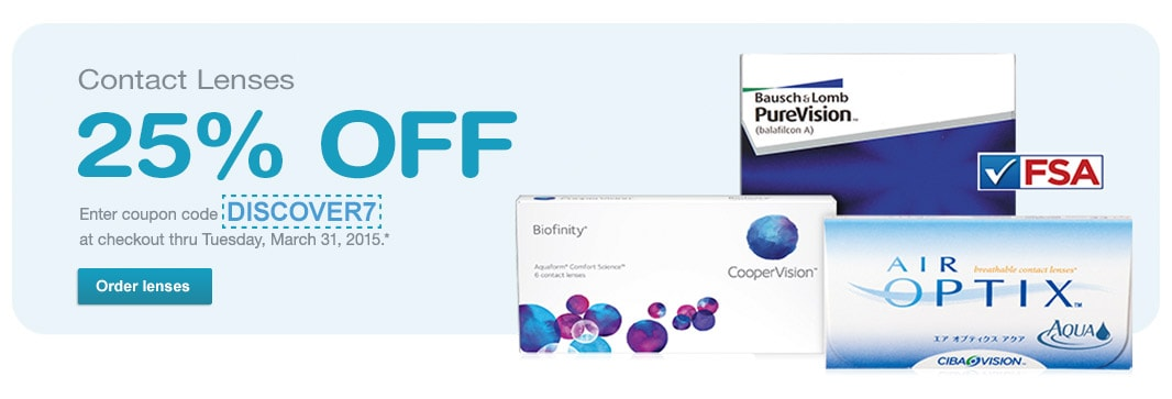 Contact Lenses 25% off with code DISCOVER7 thru 03/31/15*. Order lenses.